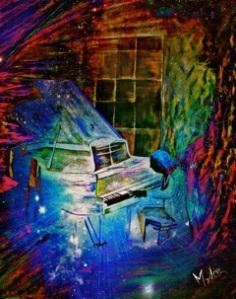 "Vendu Piano la nuit 36"" x 48"" pcs. profilé Huile"